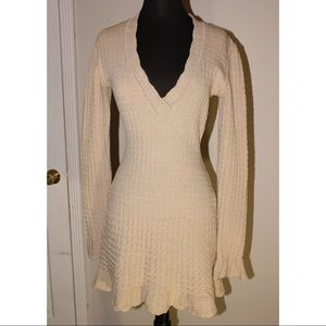 Alaia Vintage Beige Stretch Fit and Flare Dress